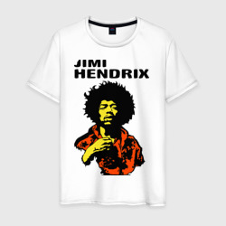 Jimi Hendrix in a red t-shirt