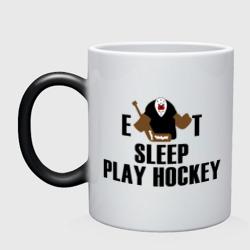 Кружка хамелеон 'Eat sleep play hockey'