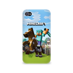 Чехол для Apple iPhone 4/4S 3D Minecraft на коне