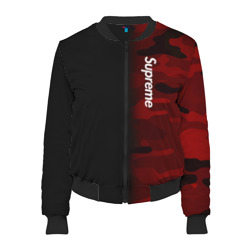 Женский бомбер 3D 'Supreme Military Black Red'