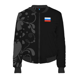 Женский бомбер 3D 'Russia - Black Collection'