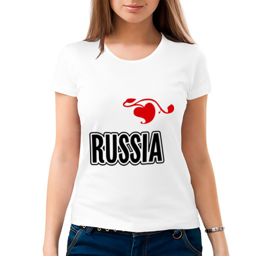 Женская футболка хлопок  Фото 03, Russia leaf
