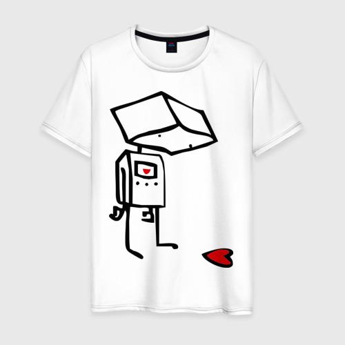 Мужская футболка хлопок Робот и сердце