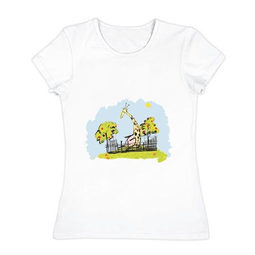 Женская футболка хлопок  Фото 01, Жираф