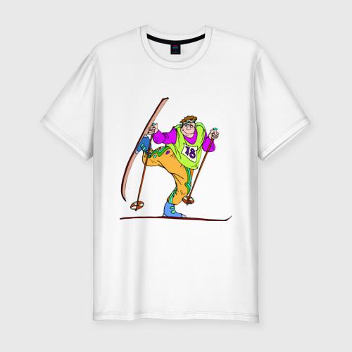 Мужская футболка премиум  Фото 01, Лыжник (2)