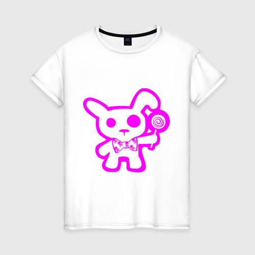 Женская футболка хлопок Эмо-заяц