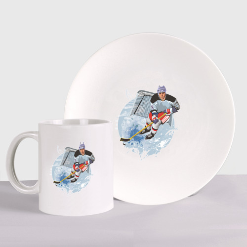 Набор: тарелка + кружка Хоккеист Фото 01