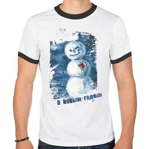 Мужская футболка рингер  Фото 01, Снеговик с Новым годом