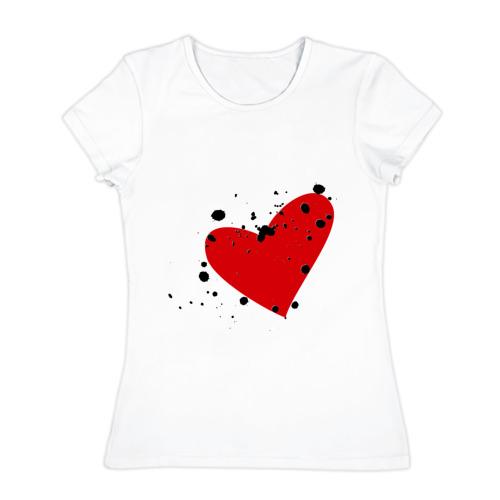 Женская футболка хлопок  Фото 01, Сердце в кляксу