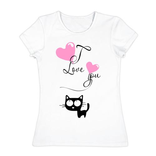 Женская футболка хлопок  Фото 01, Любовь и кошка
