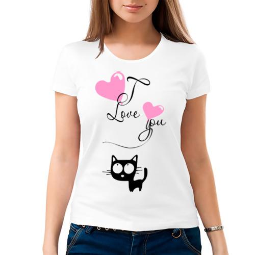Женская футболка хлопок  Фото 03, Любовь и кошка