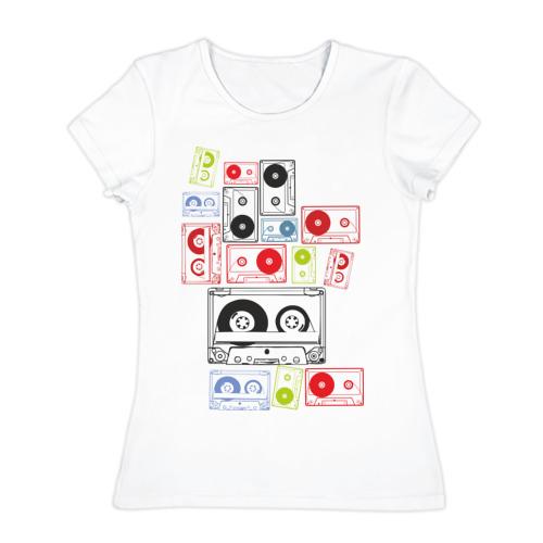 Женская футболка хлопок Кассеты
