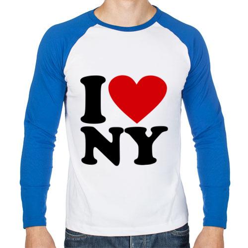 Мужской лонгслив реглан I love NY