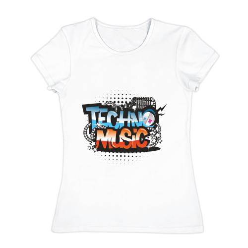 Женская футболка хлопок techno music