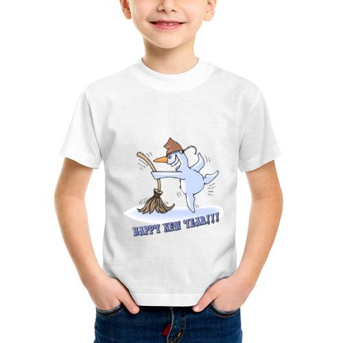 Детская футболка синтетическая Пьяный снеговик