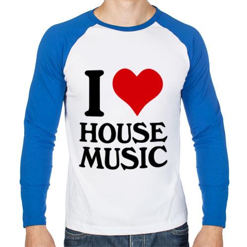 Мужской лонгслив реглан I love house music (4)