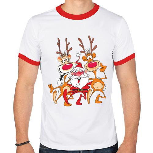 "Мужская футболка-рингер ""Дед Мороз"" (8) - 1"