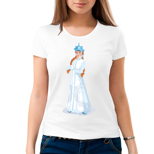 Женская футболка Снегурочка с кокардой от Всемайки