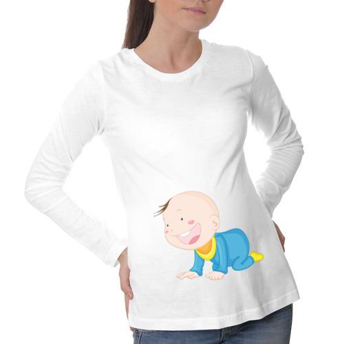 Лонгслив для беременных хлопок Ползающий малыш