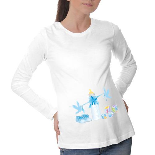 Лонгслив для беременных хлопок Голубки голубенькие