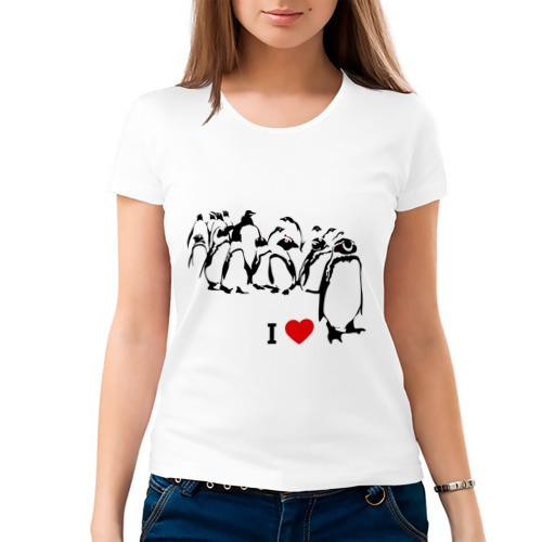 Женская футболка хлопок  Фото 03, Я люблю пингвинов