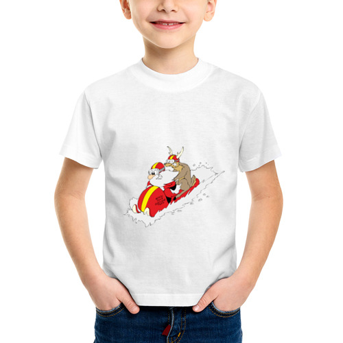Детская футболка синтетическая Санта с оленем от Всемайки