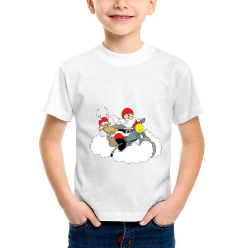Детская футболка синтетическая Санта-байкер от Всемайки