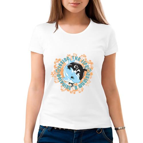 Женская футболка хлопок  Фото 03, Дельфины