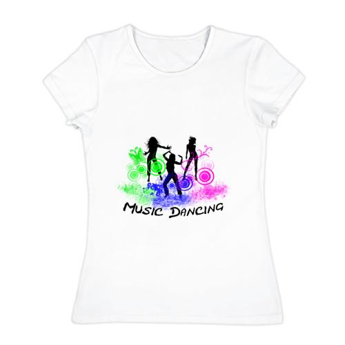 Женская футболка хлопок  Фото 01, Music dancing girl