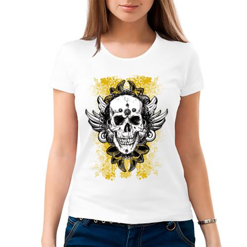 Женская футболка хлопок  Фото 03, Grunge skulls