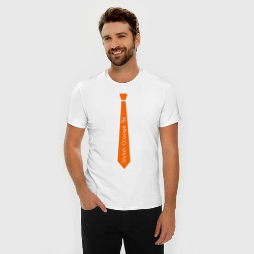 Мужская футболка премиум  Фото 03, Стильный оранжевый галстук