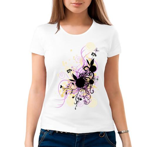 Женская футболка хлопок  Фото 03, 2 rabbit in flowers