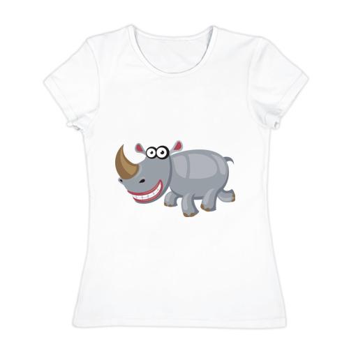 Женская футболка хлопок  Фото 01, Носорог smile