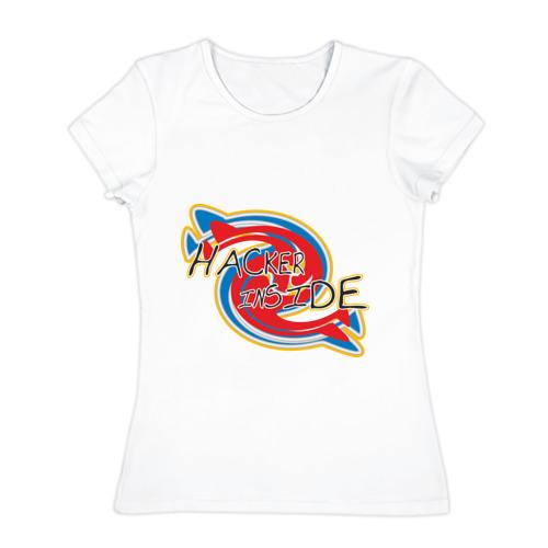 Женская футболка хлопок  Фото 01, Hacker  inside