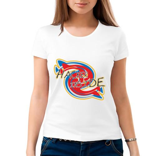 Женская футболка хлопок  Фото 03, Hacker  inside