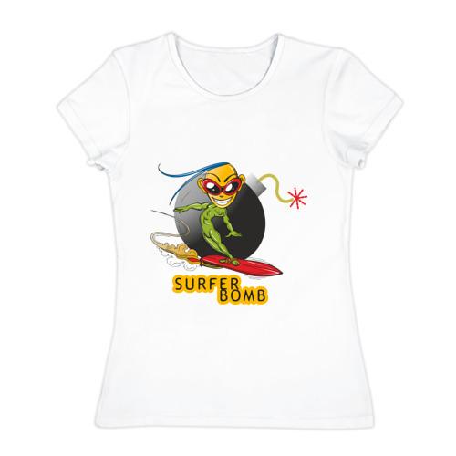 Женская футболка хлопок  Фото 01, Surfer bomb