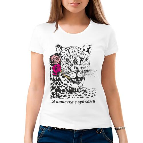 Женская футболка хлопок  Фото 03, Кошечка с зубками