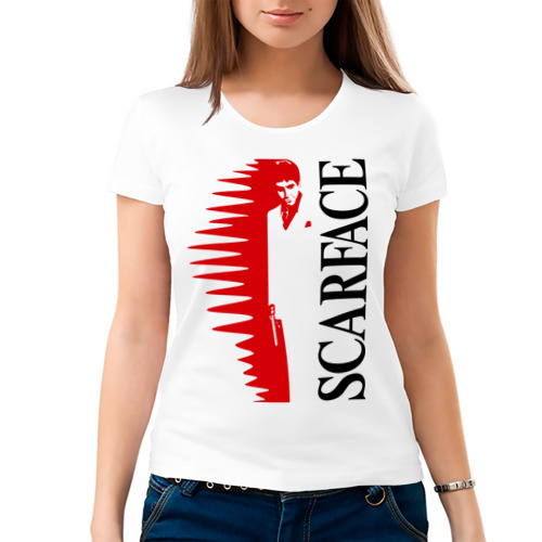 Женская футболка хлопок  Фото 03, Аль Пачино - Scarface (white)