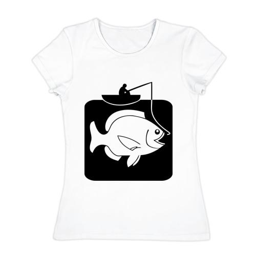 Женская футболка хлопок Рыбак и большая рыба