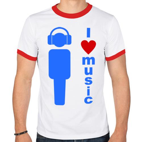 Мужская футболка рингер  Фото 01, I love music (2)