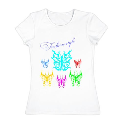 Женская футболка хлопок  Фото 01, Fashion style (бабочки)