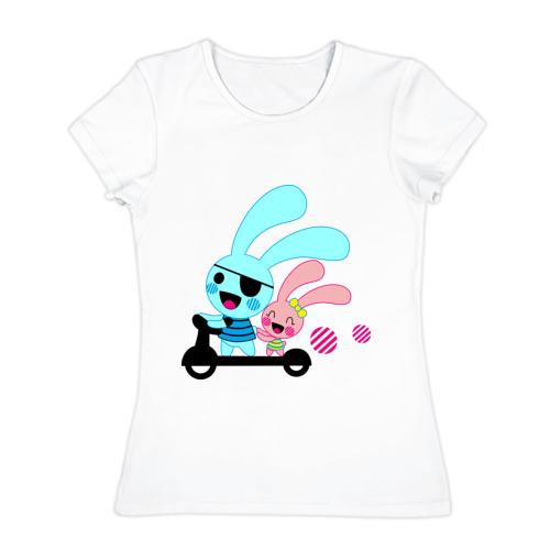 Женская футболка хлопок  Фото 01, Зайчишки на самокате