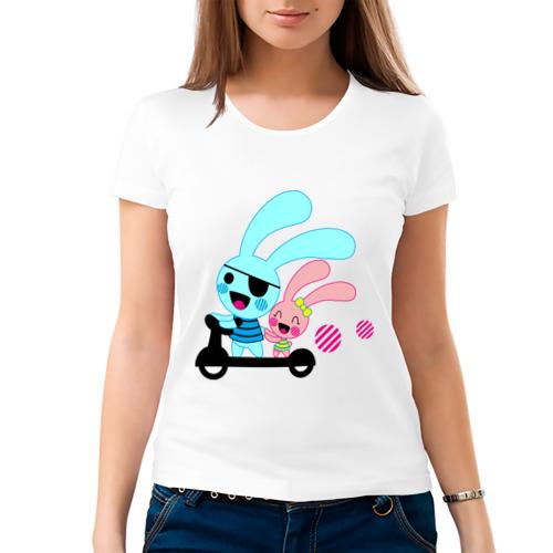 Женская футболка хлопок  Фото 03, Зайчишки на самокате