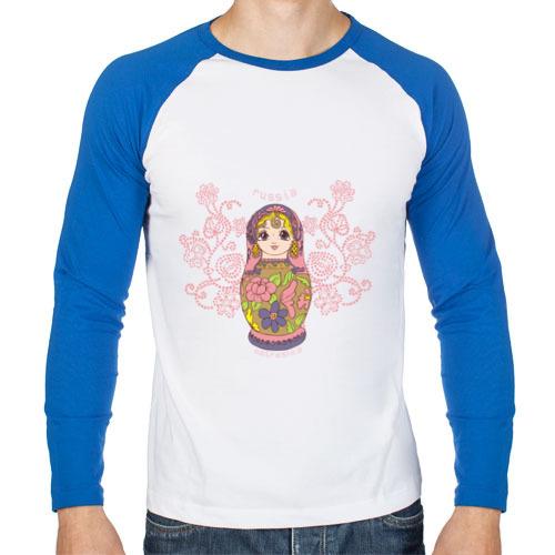 """Мужская футболка-реглан с длинным рукавом """"Матрешка"""" - 1"""