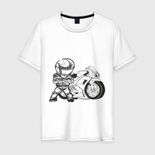 Мужская футболка хлопок Мотоциклист