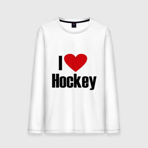 Мужской лонгслив хлопок  Фото 01, Я люблю хоккей!