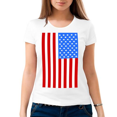 Женская футболка хлопок  Фото 03, Американский флаг
