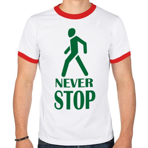 Мужская футболка рингер  Фото 01, Never Stop