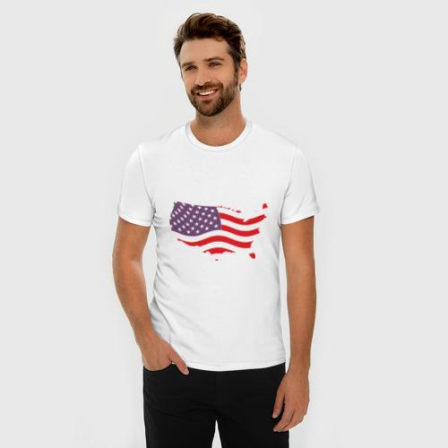 Мужская футболка премиум Флаг Америки Фото 01