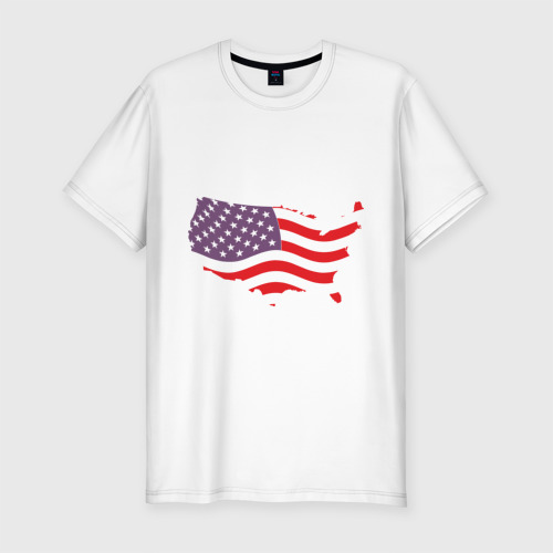 Мужская футболка хлопок Slim Флаг Америки Фото 01